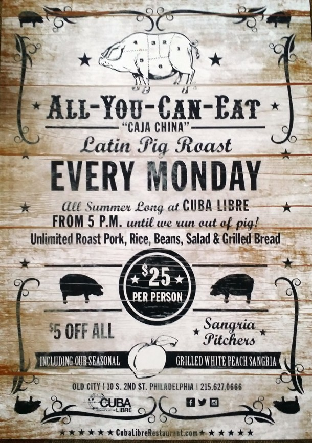 All You Can Eat Pig Roast at Cuba Libre Flyer