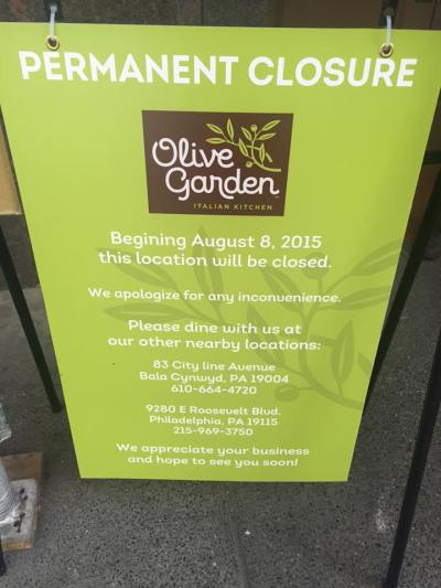 Center City Olive Garden Closed