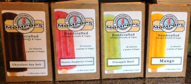 Mompops Flavors (from left to right): Chocolate Sea Salt, Banana Strawberry Cream, Pineapple Basil and Mango.