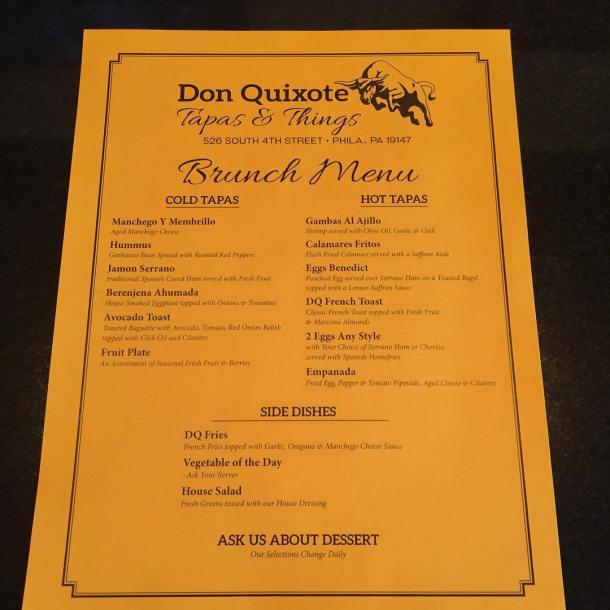 Don Quixote Tapas & Things Brunch Menu