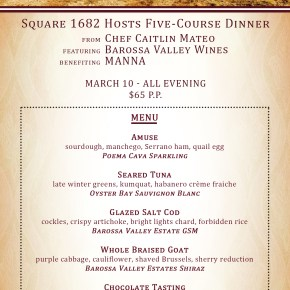 Square 1682 Hosts Five-Course Benefit Dinner for Local Non-Profit MANNA