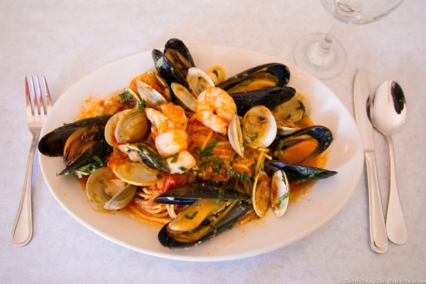 Linguini Fra Diavolo mussels, clams, shrimp and cherry peppers in long sauce