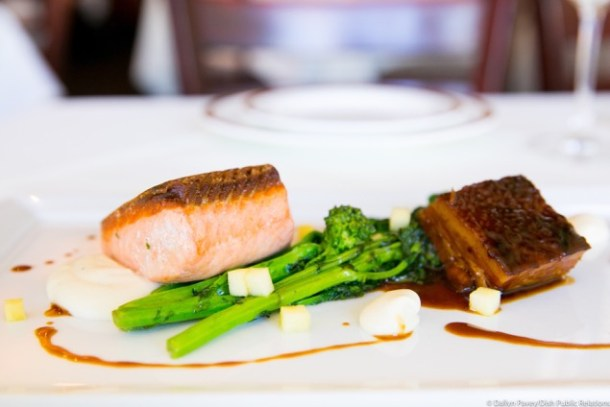 Pan Seared King Salmon at Sola BYOB Bryn Mawr