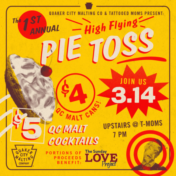 Pie Toss on Pi Day at Tattooed Moms