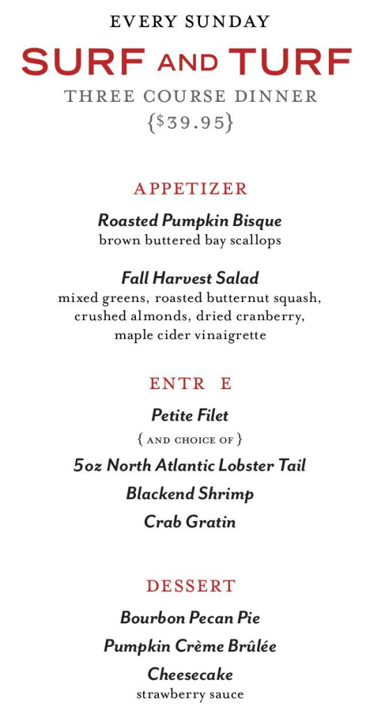 The ChopHouse Surf and Turf Menu