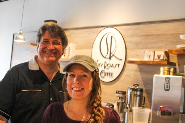 Alan Cohen, owner of Sky Roast Coffee, with Lindsay Troyer, Manager