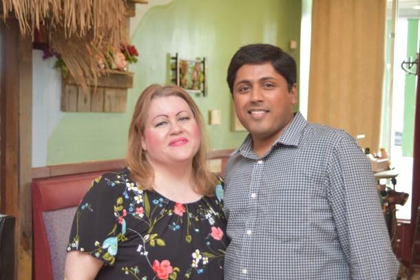 Marilyn Johnson and Vikram of Mirchi Indian Cuisine Mount Laurel