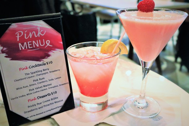 Pink Menu at Pink Hour Sonesta Philadelphia