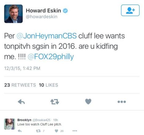 Howard Eskin Tweet