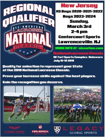 New Jersey boys, girls tryouts for @NLCLacrosse to be held Sunday at