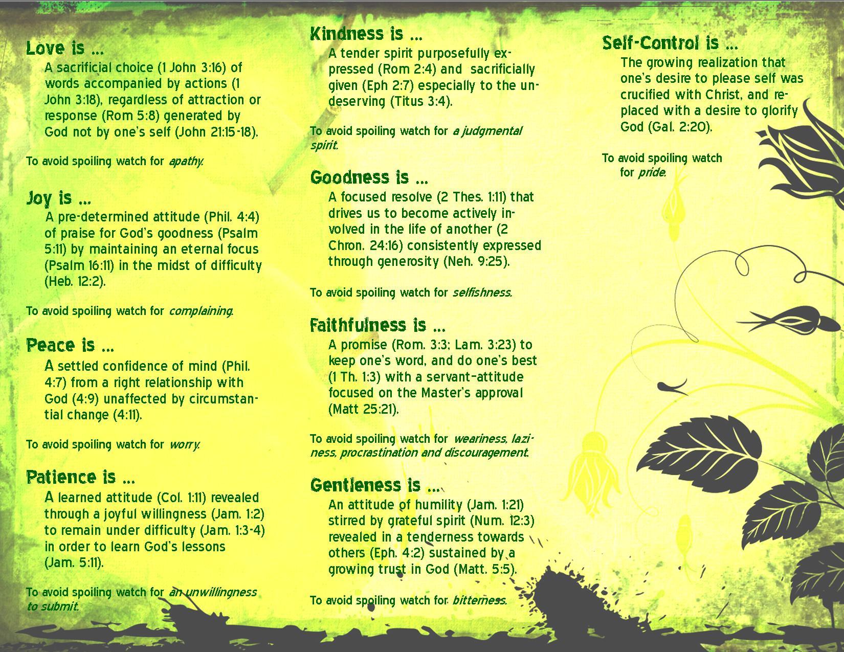 Defining The Fruit Of The Spirit Philmoser