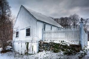 white barn in snow