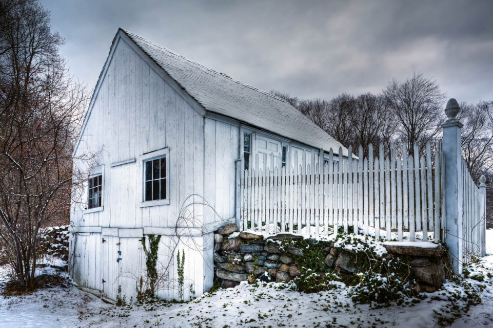 white barn in snow
