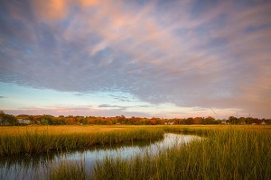 colorful sunrise over old field salt marsh