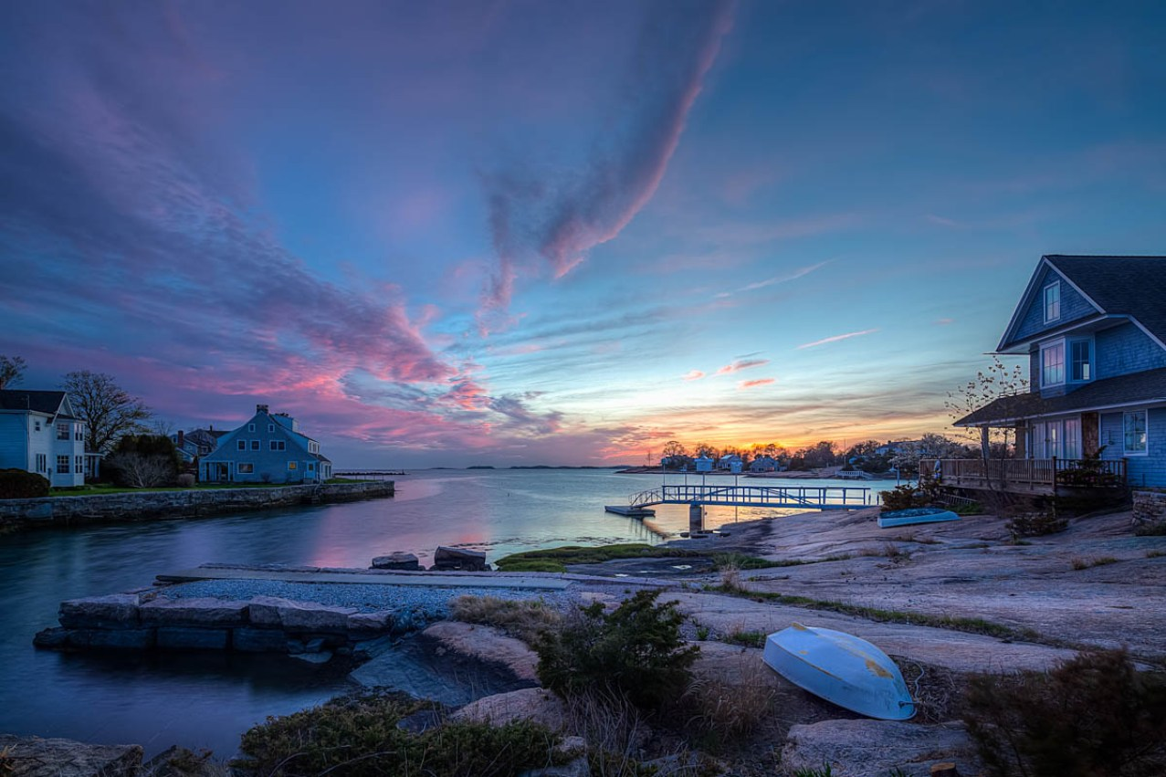 colorful sunset over sachems head, guilford, ct
