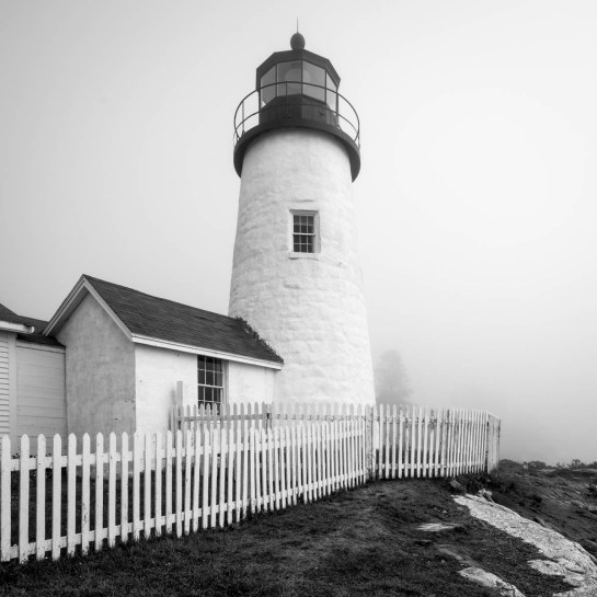 pemaquid point lighthouse in fog, b&w