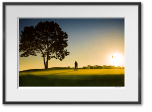 framed print of golfer on green