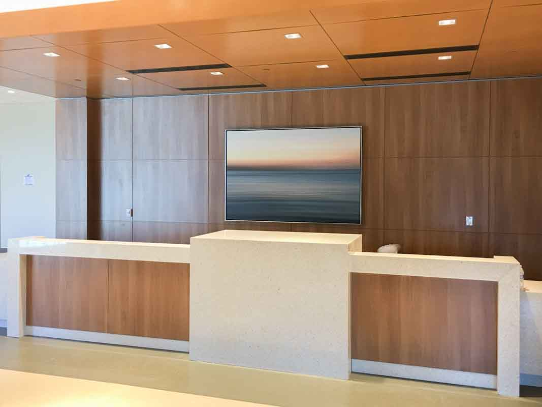 very large framed abstract canvas print behind reception desk