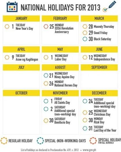 Philippine Holidays of 2013 List
