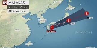 Typhoon Malakas tracking