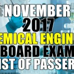 November 2017 Chemical Engineer Board Exam List of Passers