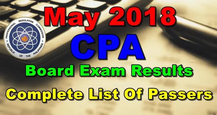 May 2018 CPA Board Exam