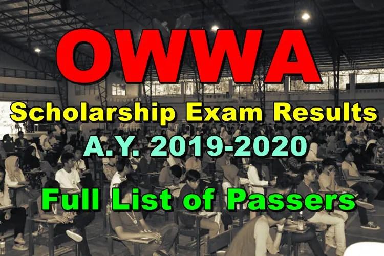 OWWA Scholarship Exam Results A Y  2019-2020 (Full List of