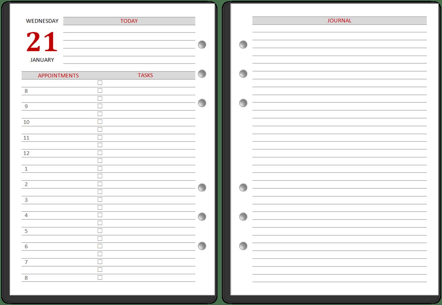 Day Timer Planner Templates | Calendar Template 2016