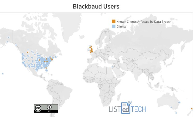 LISTedTECH graphic showing Blackboard clients, highlighting those in the UK and the US and Canada that have publicly stated they were impacted by the data breach