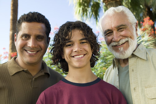 A teen, his dad, and dad's dad. What do you think gets discussed when the older two are together? Or the younger two?