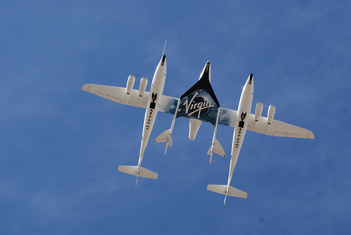 Virgin Galactic - the center part is carried by the rest of it, and then flies into space. Is this greatness?