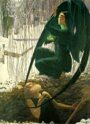 La morte del becchino, di Carlos Schwabe (1890).