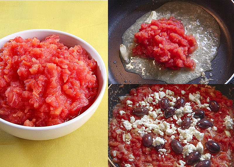 tomatoes pulp with feta cheese and kalamata olives