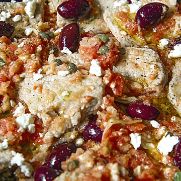 GREEK VEAL SCALOPPINE with fresh tomatoes pulp, feta cheese and kalamata olives