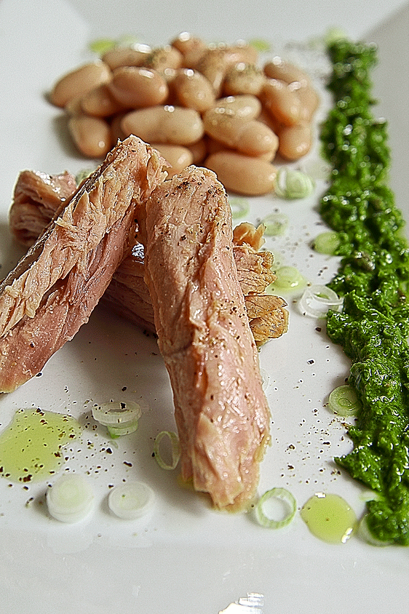 ingredients TUNA BELLY SALAD with cannellini beans and green wasabi sauce