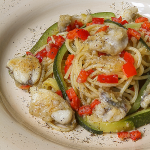 MONKFISH SPAGHETTI with bell peppers and zucchini