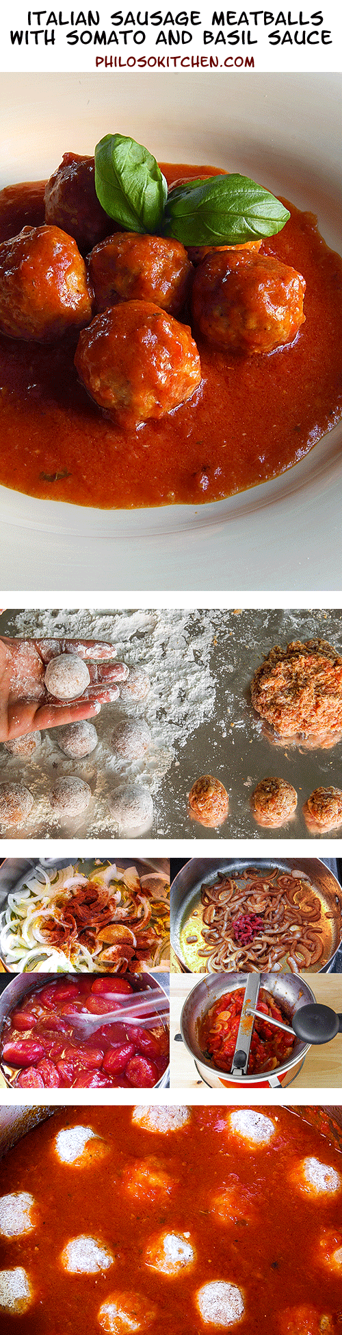 Italian sausage meatballs with tomato and basil sauce