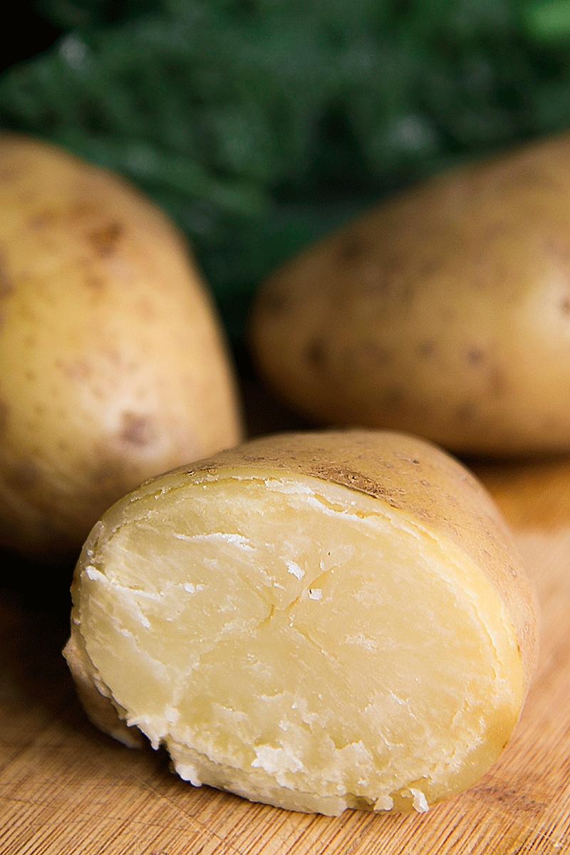 bolied potatoes and lacinato kale