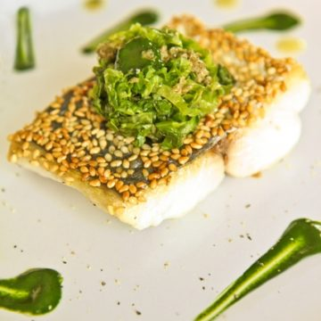 MACKEREL FILLETS with escarole salad and dill sauce