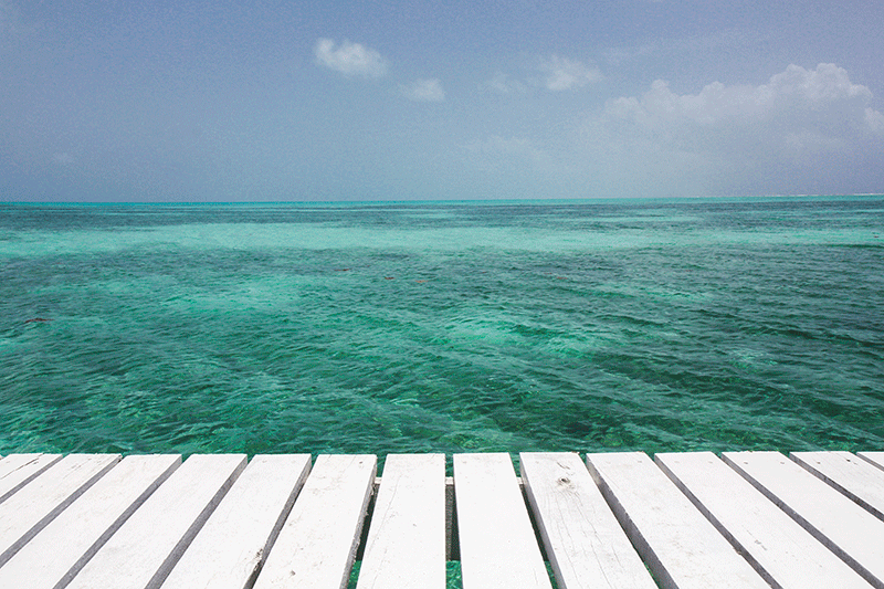 pier at Half Moon beach, Belize