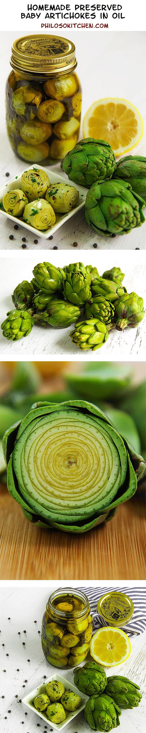 homemade preserved baby artichokes