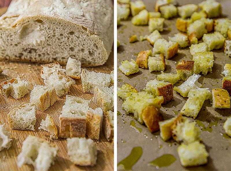 diced and toasted Italian bread ciabatta