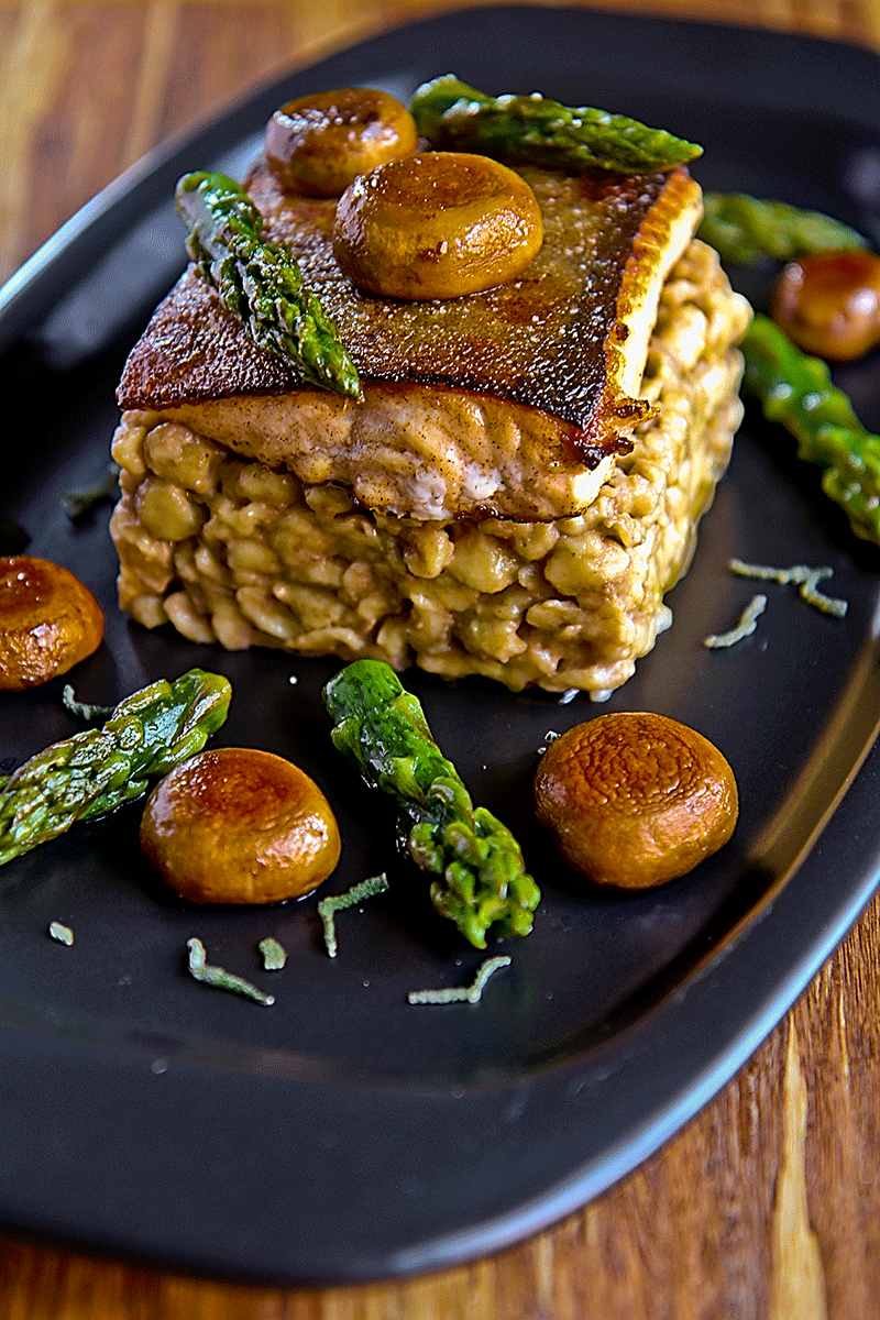 char with spatzle, mushroom and asparagus tips