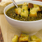 lentils and peas soup with diced toasted bread