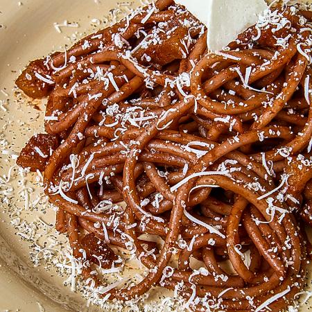 DRUNKEN BUCATINI (Italian thicker spaghetti) with red wine sauce
