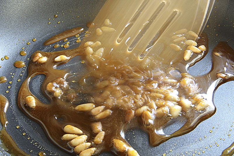 caramelized pine nuts