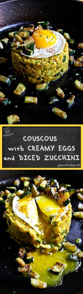 """COUSCOUS """"ALLA CARBONARA"""" WITH DICED ZUCCHINI AND FRIED EGGS"""