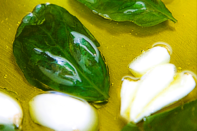 sweet basil leaves and garlic
