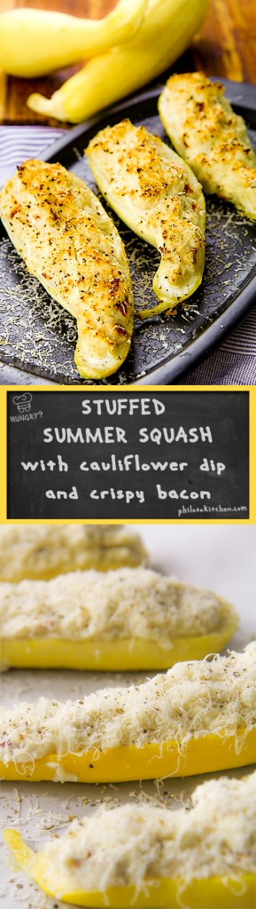 Stuffed yellow summer squash with cauliflower dip and crispy bacon