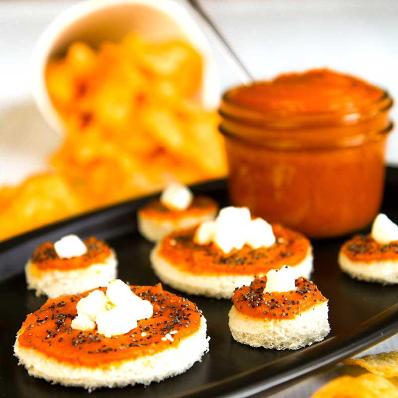 BUTTERNUT SQUASH SPREAD with smoked paprika and goat cheese